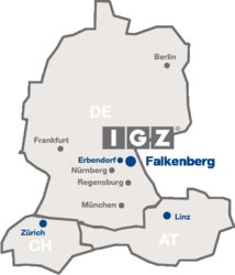 Map of Europe with IGZ offices