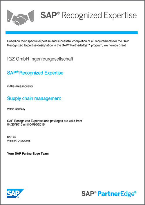 SAP Recognized Expertise Partner (REX) Supply Chain Management