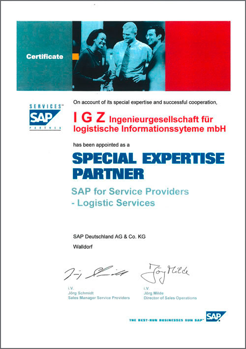 Special Expertise Partner SAP for Logistics