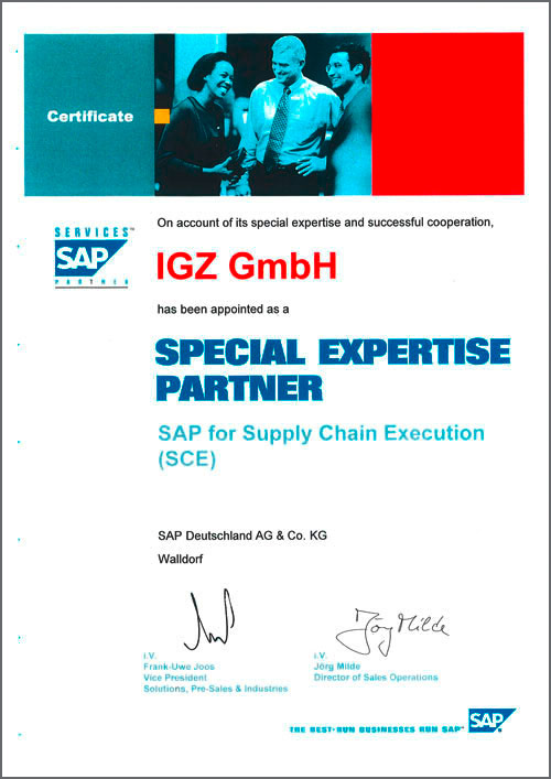 Special Expertise Partner SAP for Supply Chain Execution