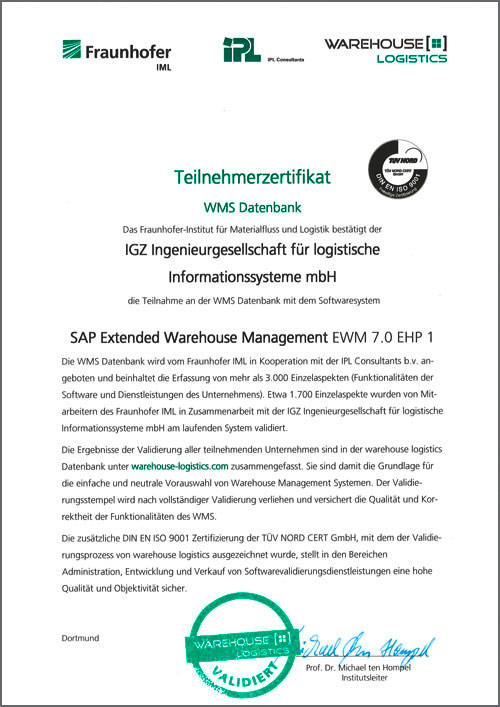 WMS Datenbank SAP Extended Warehous Management EWM 7.0 EHP