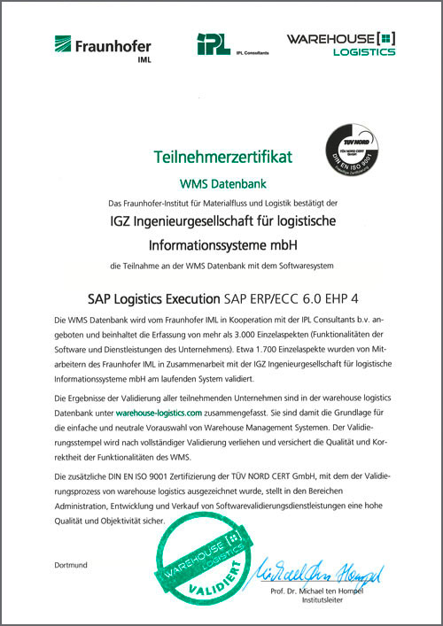 WMS Datenbank SAP Logistics Execution SAP ERP ECC 6.0 EHP
