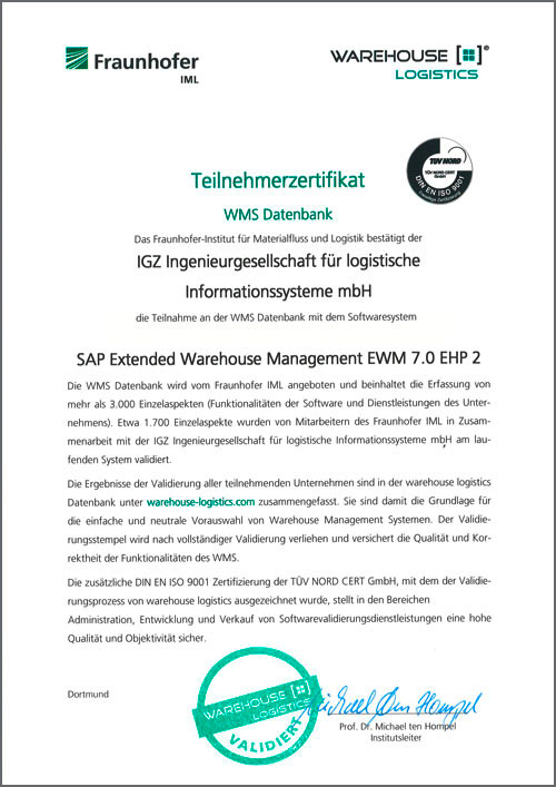 WMS Datenbank SAP Extended Warehouse Management EWM 7.0 EHP