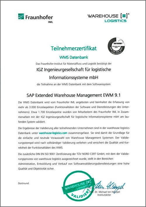 WMS Datenbank SAP Extended Warehouse Management EWM 9.1