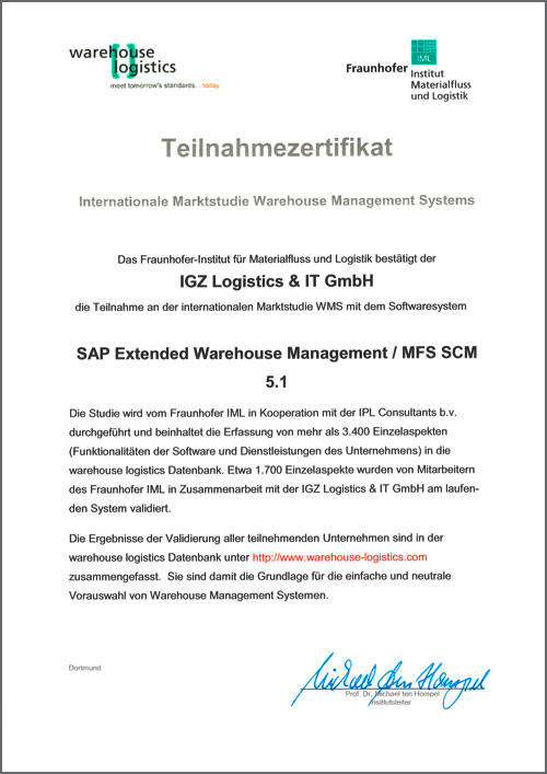 WMS Datenbank SAP Extended Warehouse Management MFS SCM 5.1